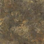 Gold, Taupe, Rust Batik with Stamping